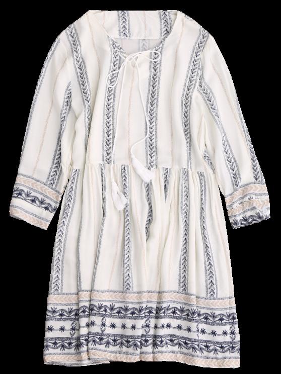 Stripe Print Mini Smock Dress - OFF-WHITE M Mobile