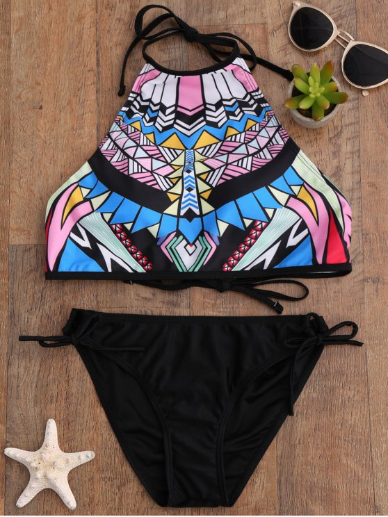 Aztec Print High Neck Bikini Set - BLACK M Mobile