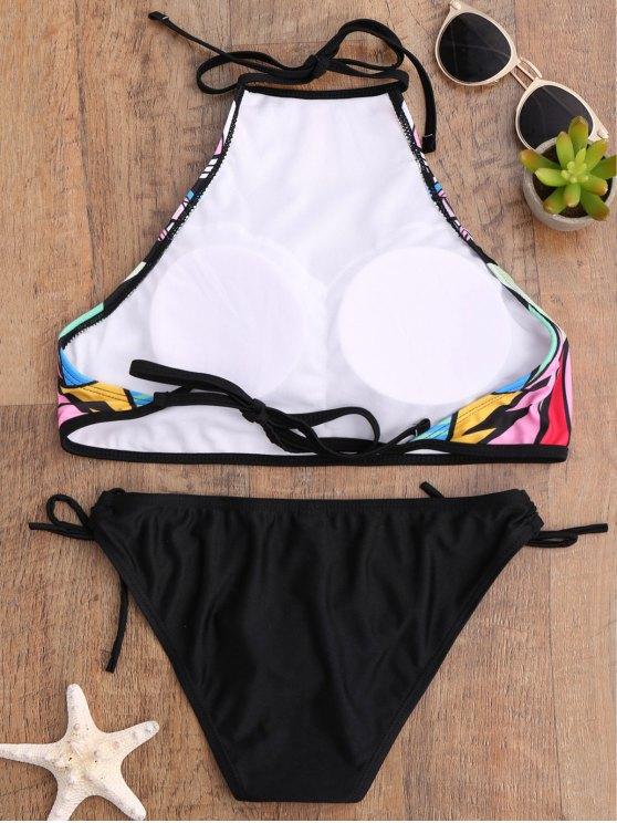 Aztec Print High Neck Bikini Set - BLACK S Mobile