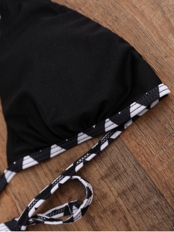 Piped Padded Bathing Suit - BLACK M Mobile