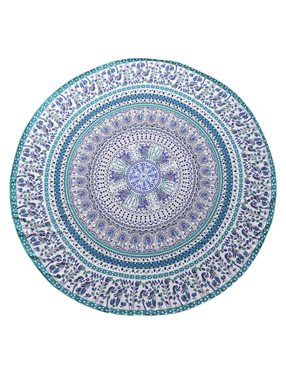 Round Tropical Print Beach Blanket - COLORMIX  Mobile