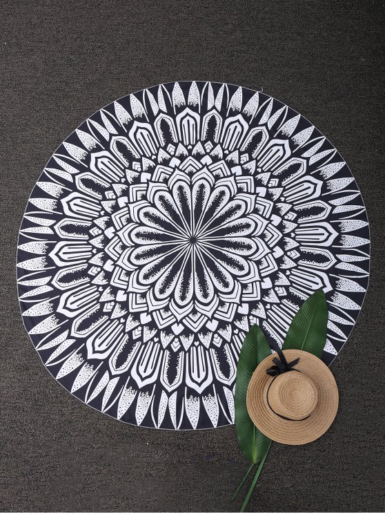 Round Mandala Tapestry Beach Blanket - BLACK  Mobile