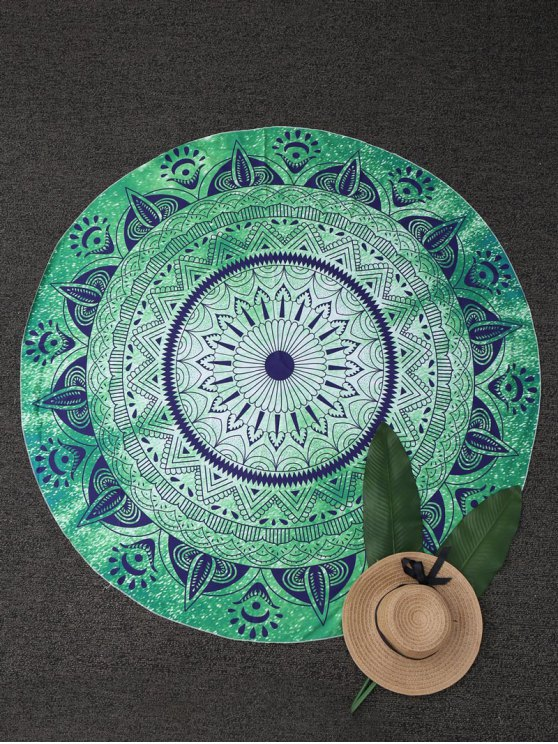 Round Geometric Beach Throw - GREEN ONE SIZE Mobile