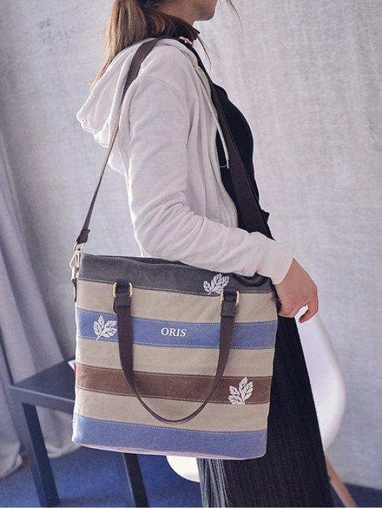 Color Block Canvas Shoulder Bag - GRAY  Mobile