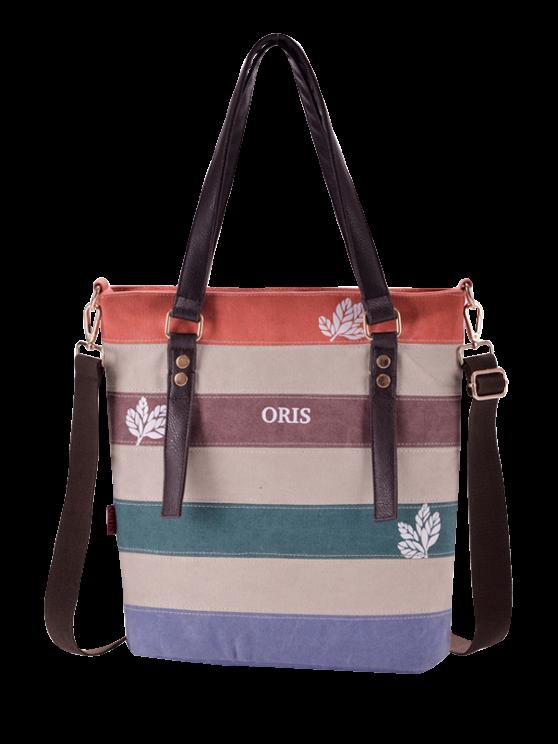 Color Block Canvas Shoulder Bag - RED  Mobile