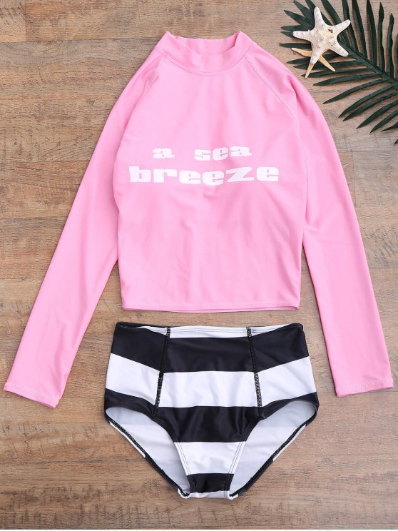 Graphic Top and Striped High Waist Bottoms Wetsuit - PINK XL Mobile