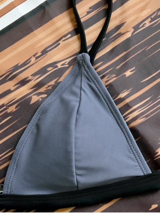 Padded Plunge V String Bikini - GRAY S Mobile