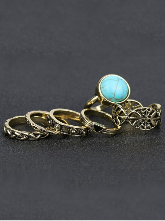 Alloy Engraved Artificial Turquoise Ring Set - GOLDEN  Mobile