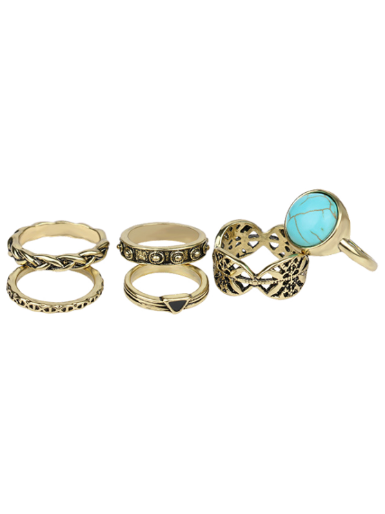 outfits Alloy Engraved Artificial Turquoise Ring Set - GOLDEN