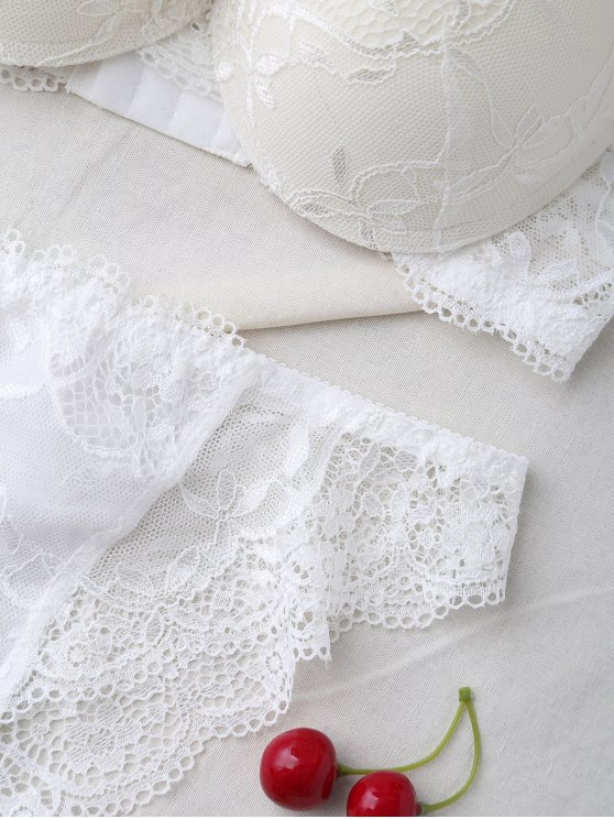 See Thru Floral Lace Panel Bra Set - WHITE 80B Mobile