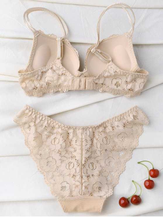 Scalloped Lace Panel Spring Strap Bra Set - SKIN COLOR 80B Mobile