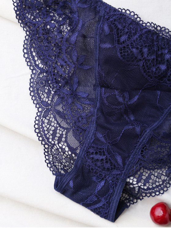 See Thru Floral Lace Panel Bra Set - DEEP BLUE 75B Mobile