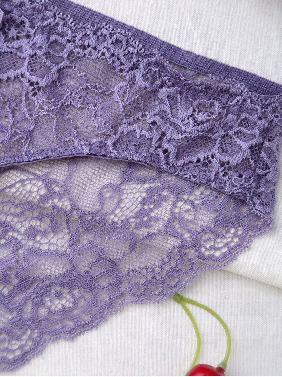 Double Straps Bowknot Lace Panel Bra Set - LIGHT PURPLE 75B Mobile
