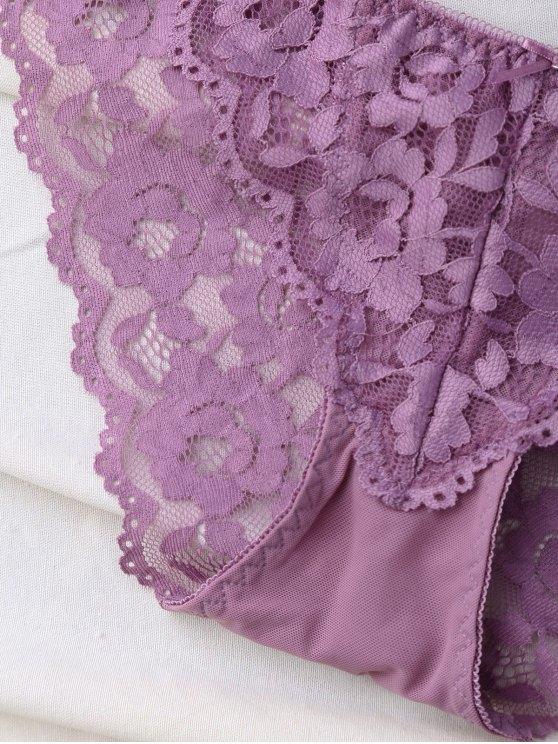 Scalloped Lace Panel Spring Strap Bra Set - PURPLE 80B Mobile