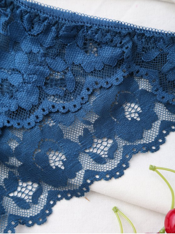 Scalloped Lace Panel Spring Strap Bra Set - PEACOCK BLUE 80B Mobile