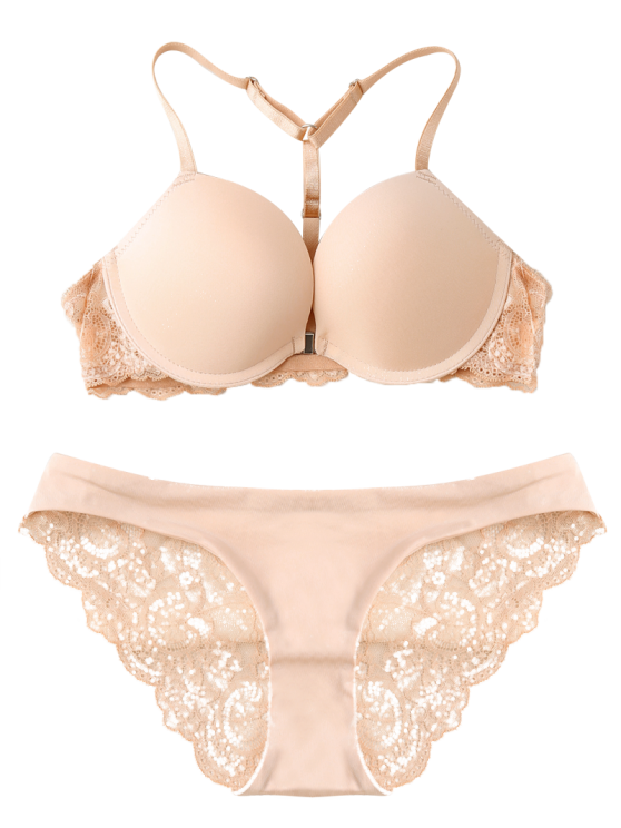 Racerback Metallic Lace Panel Bra Set - SKIN COLOR 85B Mobile