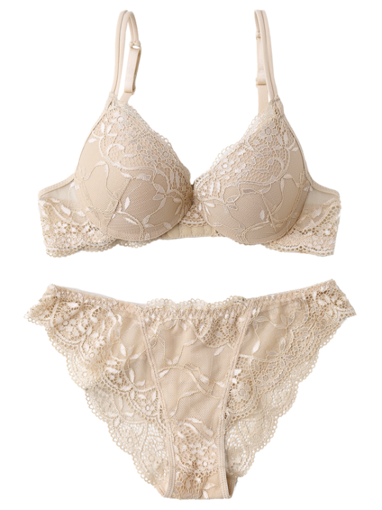 See Thru Floral Lace Panel Bra Set - SKIN COLOR 80B Mobile