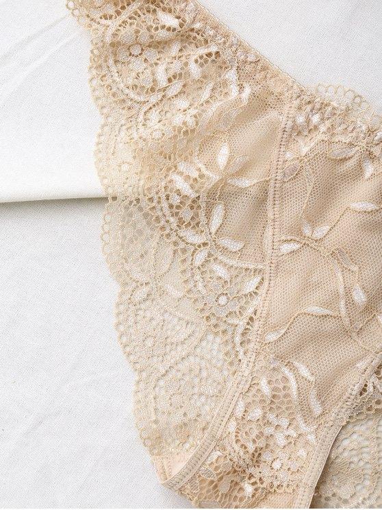 See Thru Floral Lace Panel Bra Set - SKIN COLOR 75B Mobile