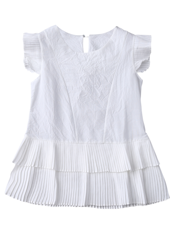 Layered Pleated Panel Blouse - WHITE S Mobile