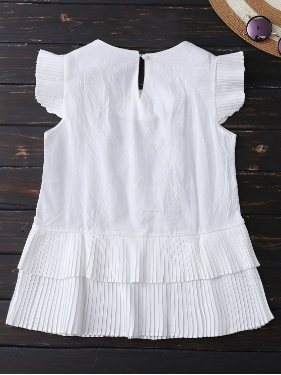 Layered Pleated Panel Blouse - WHITE M Mobile