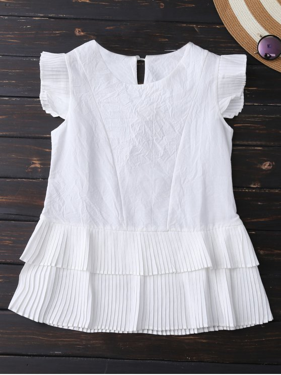 latest Layered Pleated Panel Blouse - WHITE L