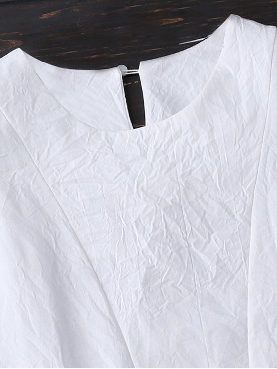 Layered Pleated Panel Blouse - WHITE XL Mobile