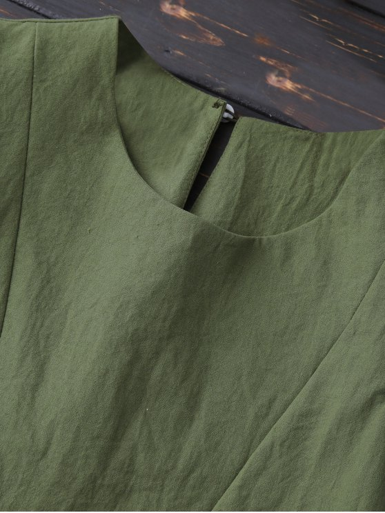 Layered Pleated Panel Blouse - ARMY GREEN S Mobile