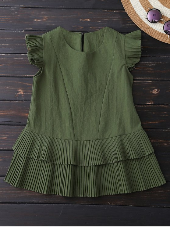 chic Layered Pleated Panel Blouse - ARMY GREEN M