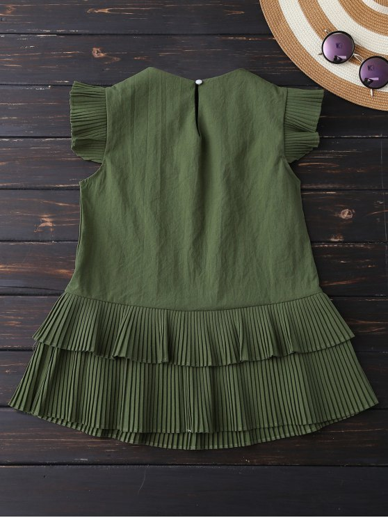 Layered Pleated Panel Blouse - ARMY GREEN M Mobile