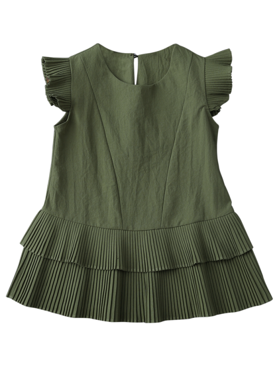 Layered Pleated Panel Blouse - ARMY GREEN L Mobile