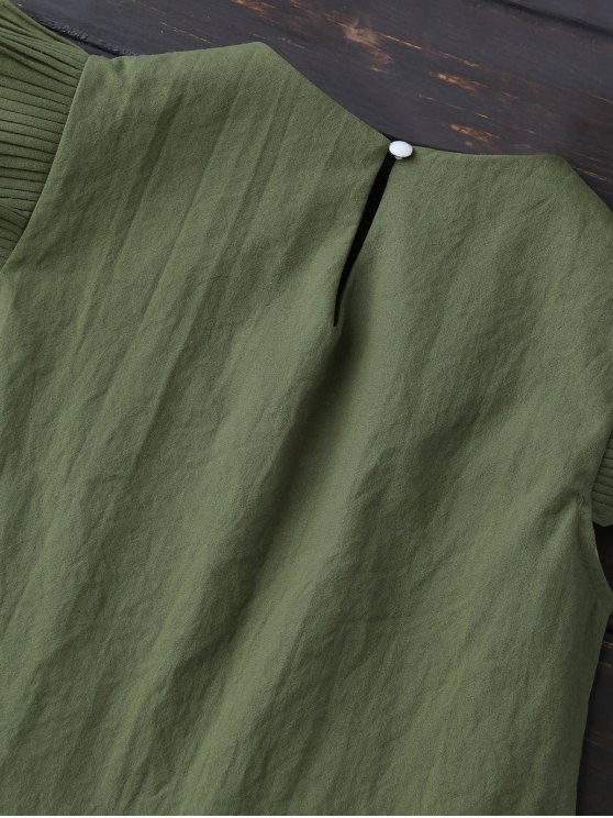 Layered Pleated Panel Blouse - ARMY GREEN XL Mobile