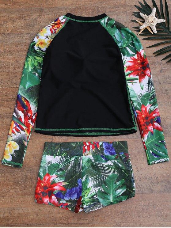 Tropical Print Graph Top and Shorts Suit - BLACK XL Mobile