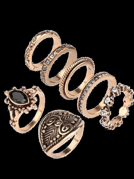 Rhinestone Engraved Vintage Ring Set - GOLDEN ONE-SIZE Mobile