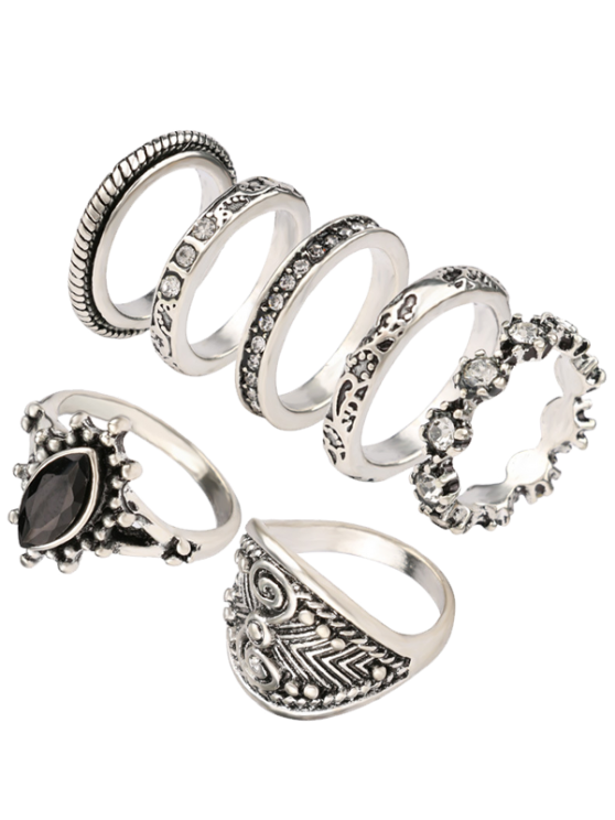 Rhinestone Engraved Vintage Ring Set - SILVER ONE-SIZE Mobile