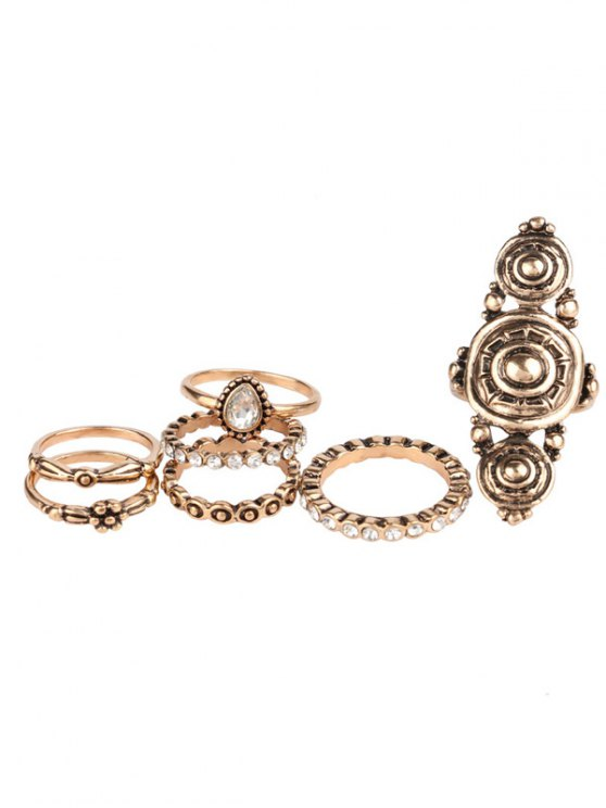 Rhinestone Teardrop Flower Ring Set - GOLDEN ONE-SIZE Mobile