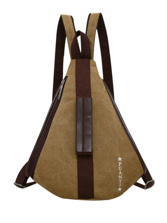 Casual Multifunction Canvas Backpack - KHAKI  Mobile
