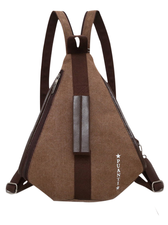 Casual Multifunction Canvas Backpack - COFFEE  Mobile