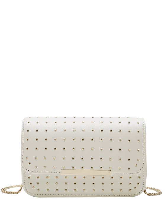 best Rivet Chains Flap Cross Body Bag - WHITE