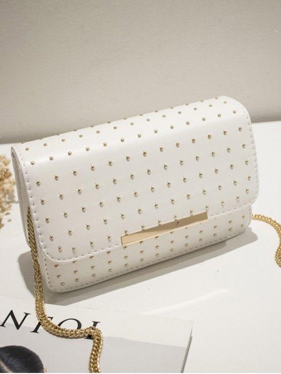 Rivet Chains Flap Cross Body Bag - WHITE  Mobile