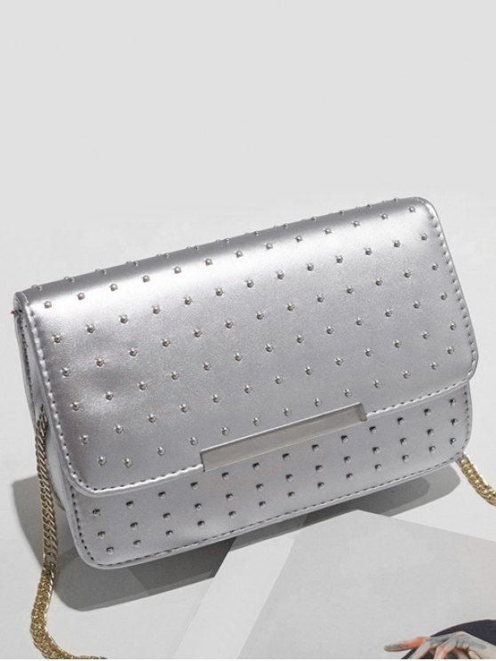 Rivet Chains Flap Cross Body Bag - SILVER  Mobile
