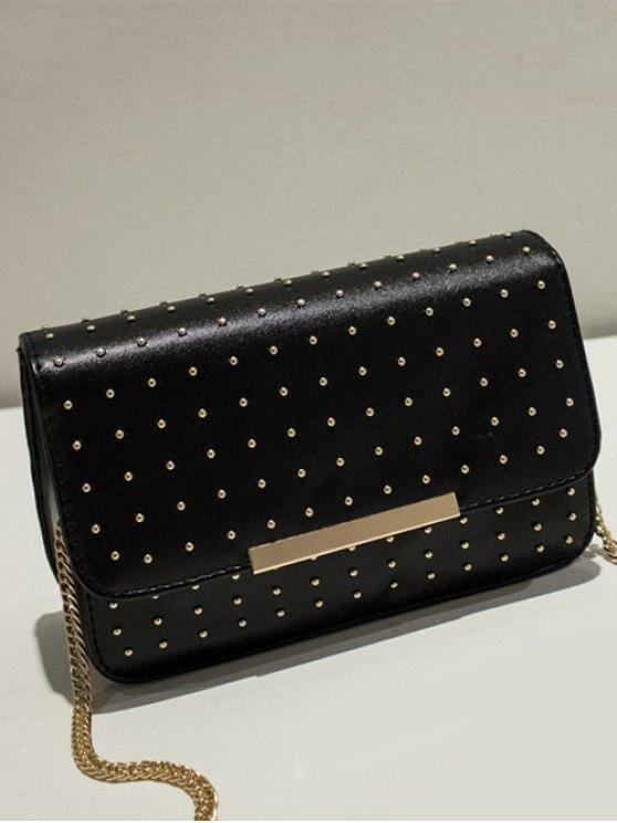 Rivet Chains Flap Cross Body Bag - BLACK  Mobile