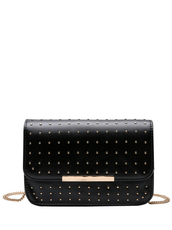hot Rivet Chains Flap Cross Body Bag - BLACK