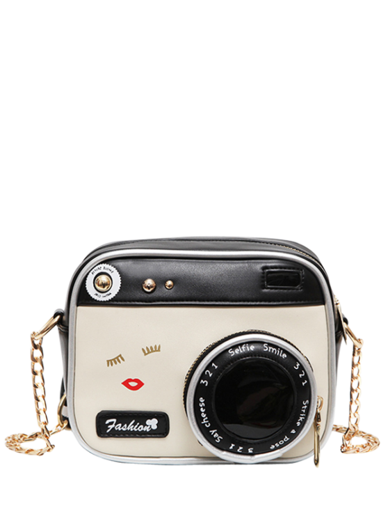 outfits Novelty Camera Shaped Cross Body Bag - WHITE AND BLACK