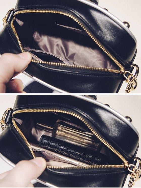 Novelty Camera Shaped Cross Body Bag - WHITE AND BLACK  Mobile