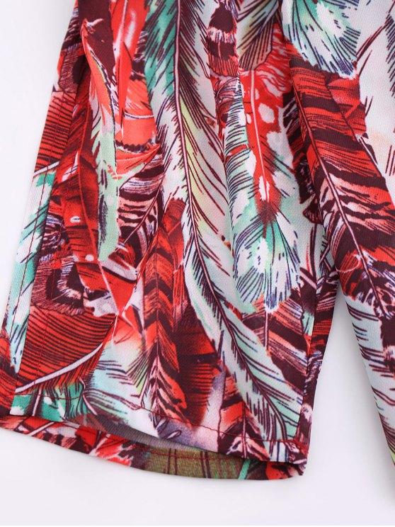 Skew Neck Printed Chiffon Dress - RED S Mobile