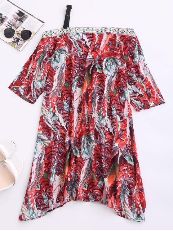 sale Skew Neck Printed Chiffon Dress - RED S
