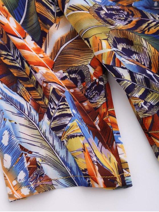 Skew Neck Printed Chiffon Dress - BLUE L Mobile