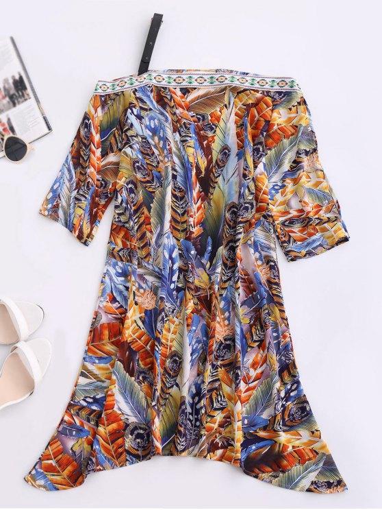 lady Skew Neck Printed Chiffon Dress - BLUE XL