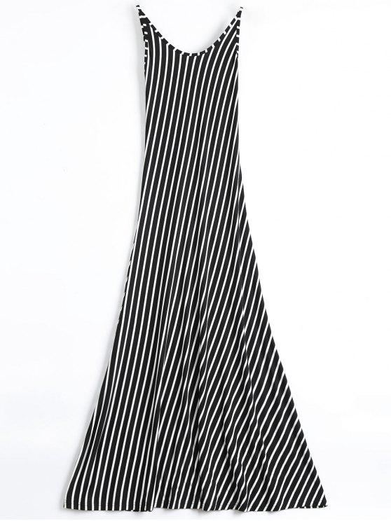 Sin espalda vestido rayado Cami Maxi - Negro XL