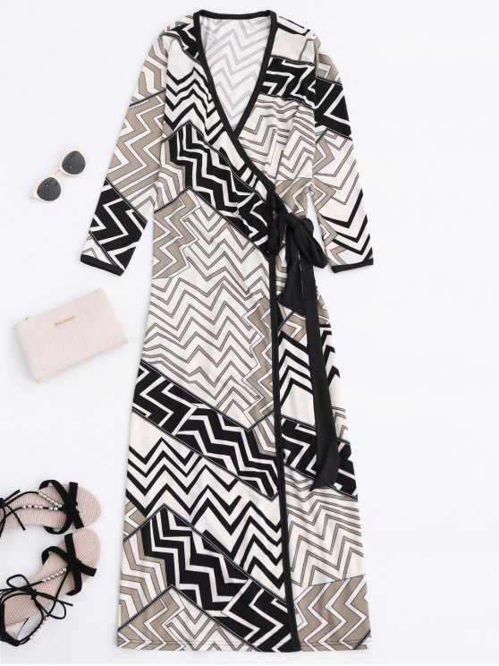 shop Plunging Neck Zig Zag Wrap Maxi Dress - COLORMIX L